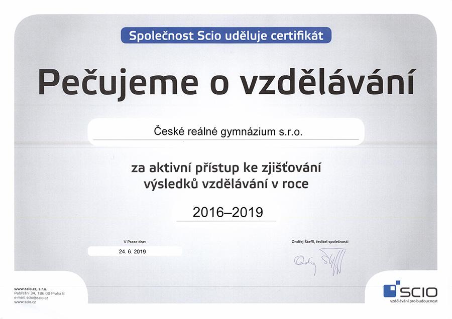Certifikát Pečujeme o vzdělání od společnosti SCIO
