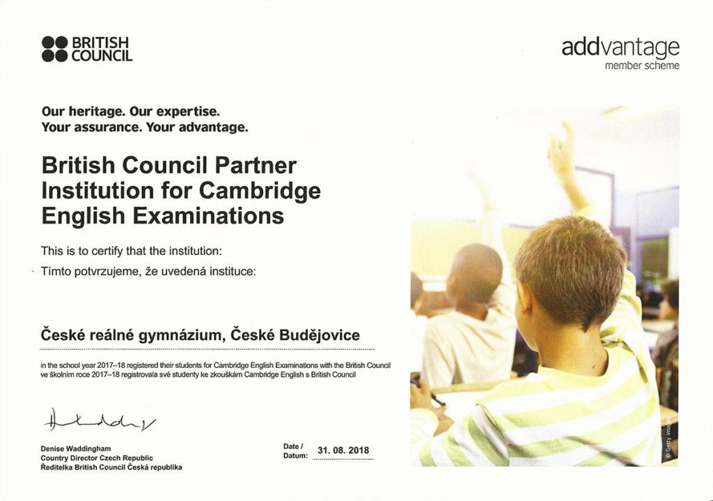 Certifikát BC o partnerství s ČRG